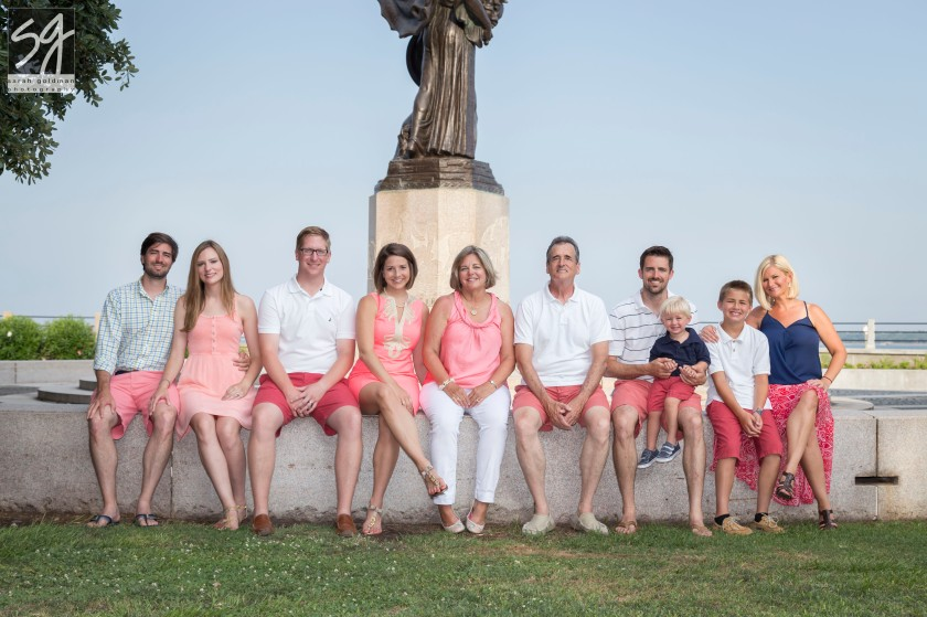 dressler family poses at the battery