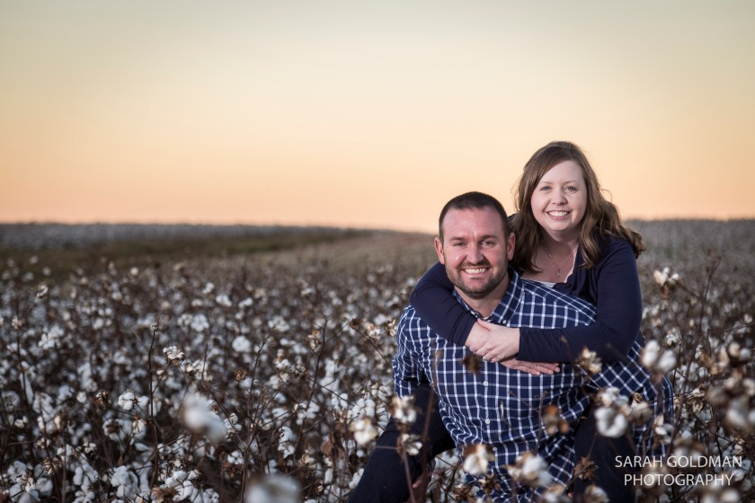 engagement session in a cotton field South Carolina