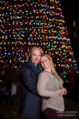 christmas tree in marion square with couple
