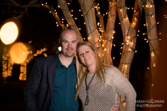 christmas lights in marion square with couple