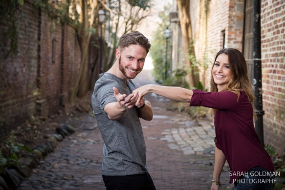 fun charleston sc engagement session