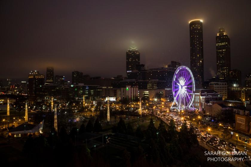 night time shot of atlanta skyline