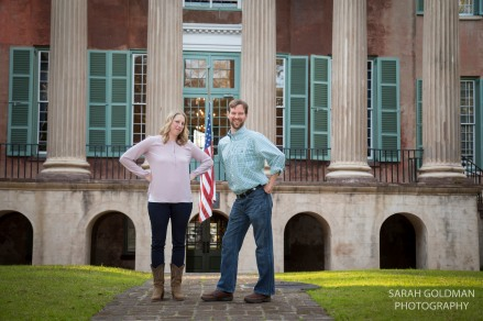 Engaged couple looking sassy at CofC