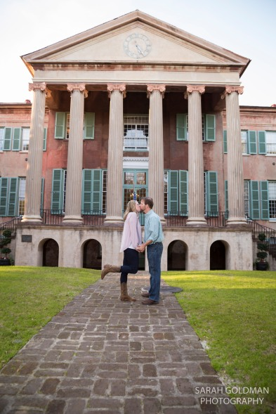 Randolph Hall at CofC with engaged couple