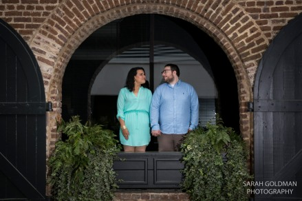 engaged couple in downtown charleston