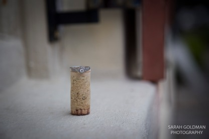wedding ring on wine cork