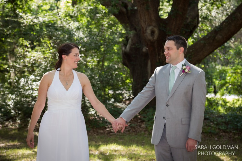 bride and groom after wedding ceremony at james island county park
