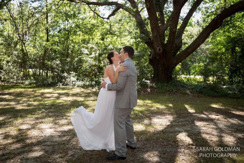 bride and groom with live oak tree