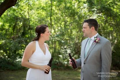 bride and groom at charleston wedding reception