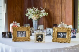 framed photos at reception