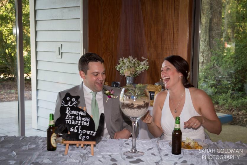 bride and groom at Edisto Hall reception
