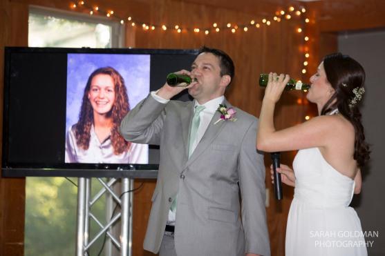 bride and groom drinking beer