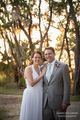 bride and groom at sunset in charleston