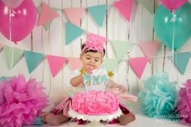 little girl during her cake smash session in charleston sc
