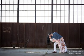 romantic engagement photos in old warehouse