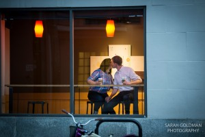 engaged couple at starbucks