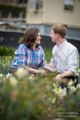 field of flowers for engagement photos
