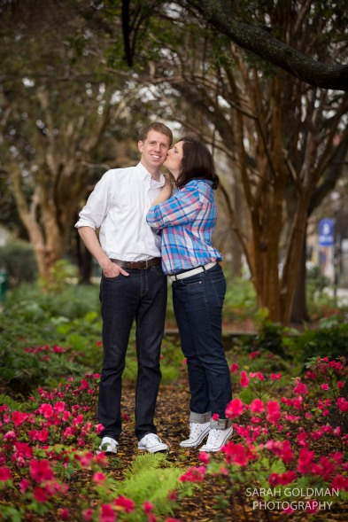 engagement photos with azaleas