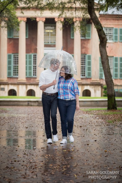engagement photos in rain