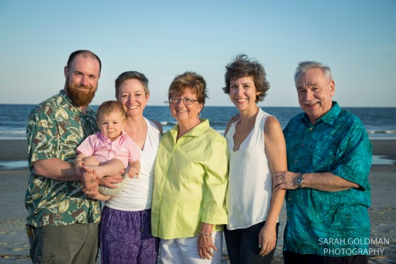 large family portrait on the beach