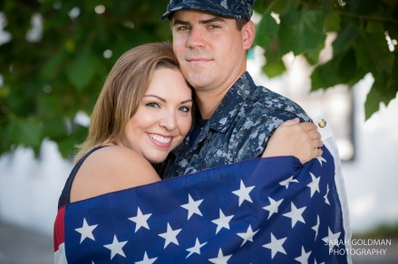 engagement photo with american flag