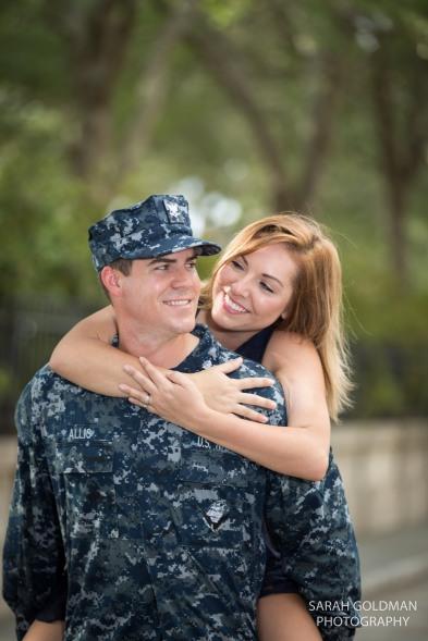 navy uniform engagement photos