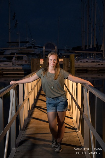 senior portrait at city marina