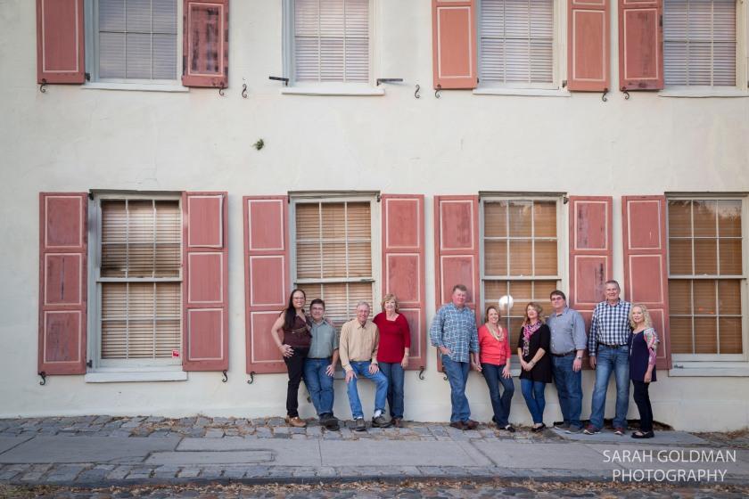 large family photo downtown charleston