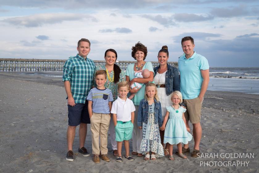 large family photo at folly beach