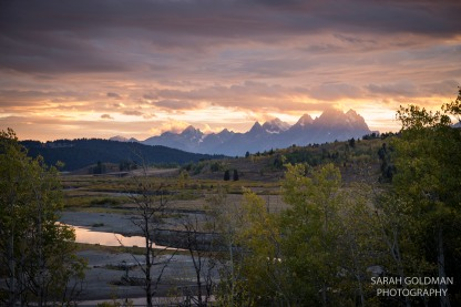 sunset with tetons