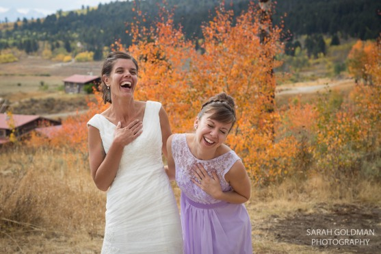 bride and her maid of honor at wyoming wedding