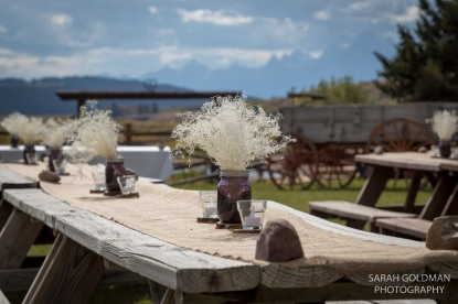table decorations at ranch wedding in wyoming