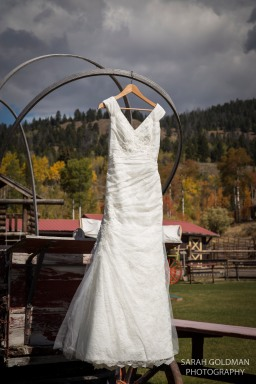 brides gown on a wagon