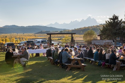 heart six ranch wedding reception with tetons in background