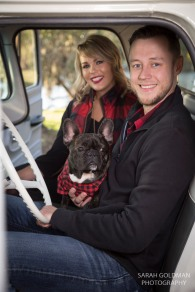 couple sitting in vintage truck