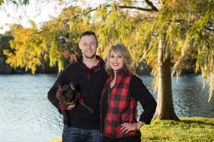 husband and wife with their french bulldog