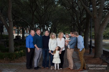 family photos under live oaks at waterfront park