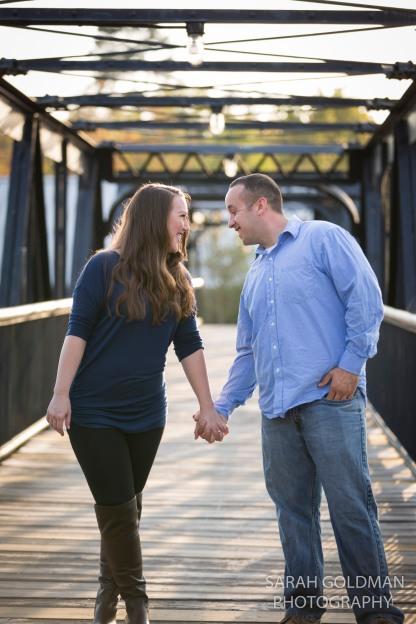 couple on bridge over congaree river in columbia sc