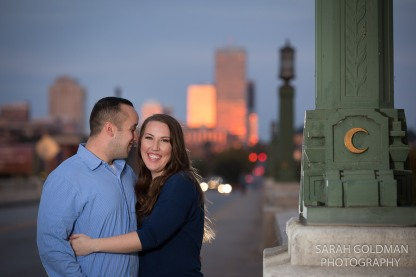 couple on gervais street bridge in downtown columbia