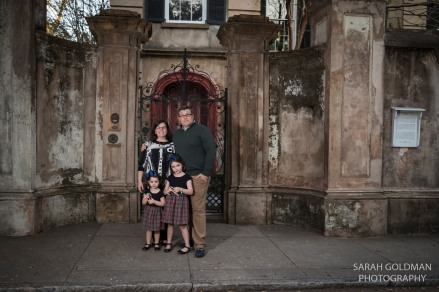 family on legare street for christmas photos