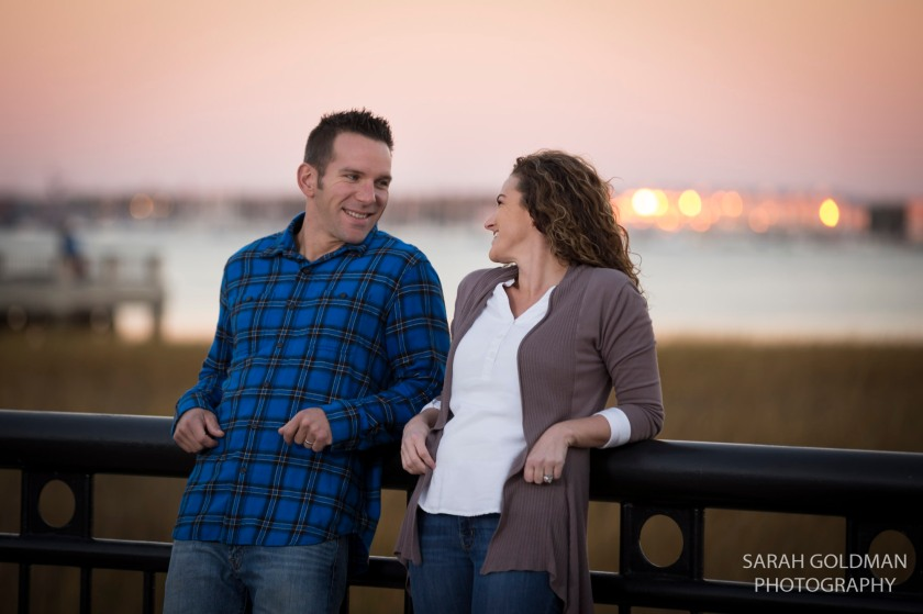 sunset engagement photos in waterfront park