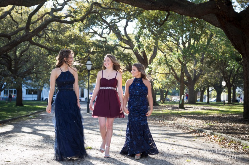 girls in prom dresses at white point gardens