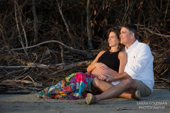 couple during sunset maternity session