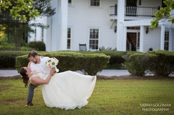 bride and groom photo at corley mill house in lexington sc