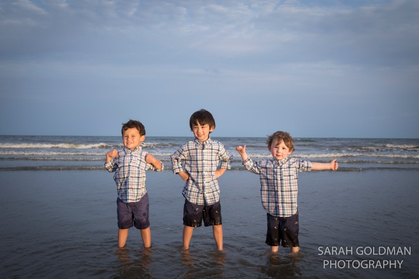 boys in the water on isle of palms
