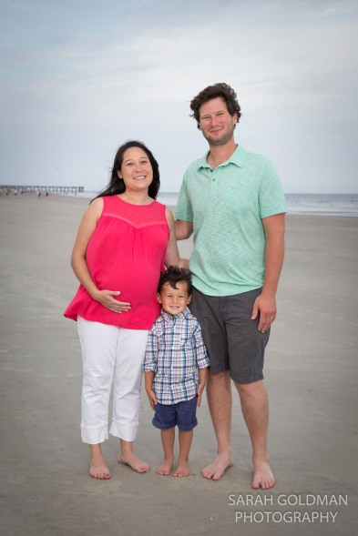family photo on the beach at isle of palms