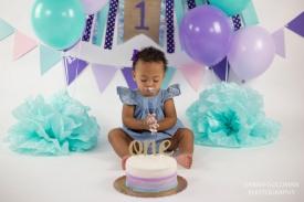 baby during cake smash session in charleston