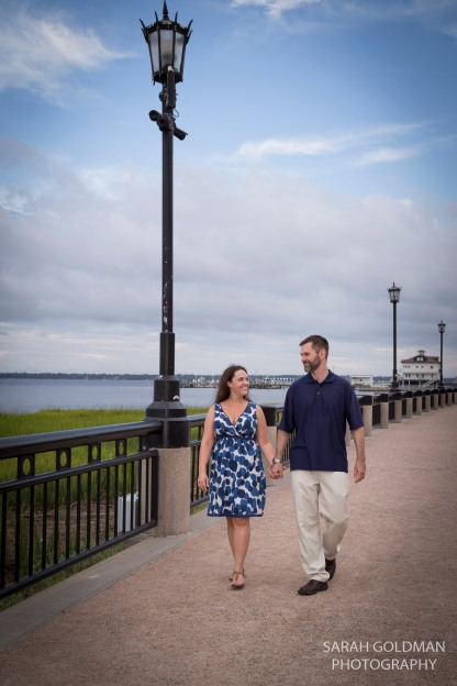husband and wife walking in charleston