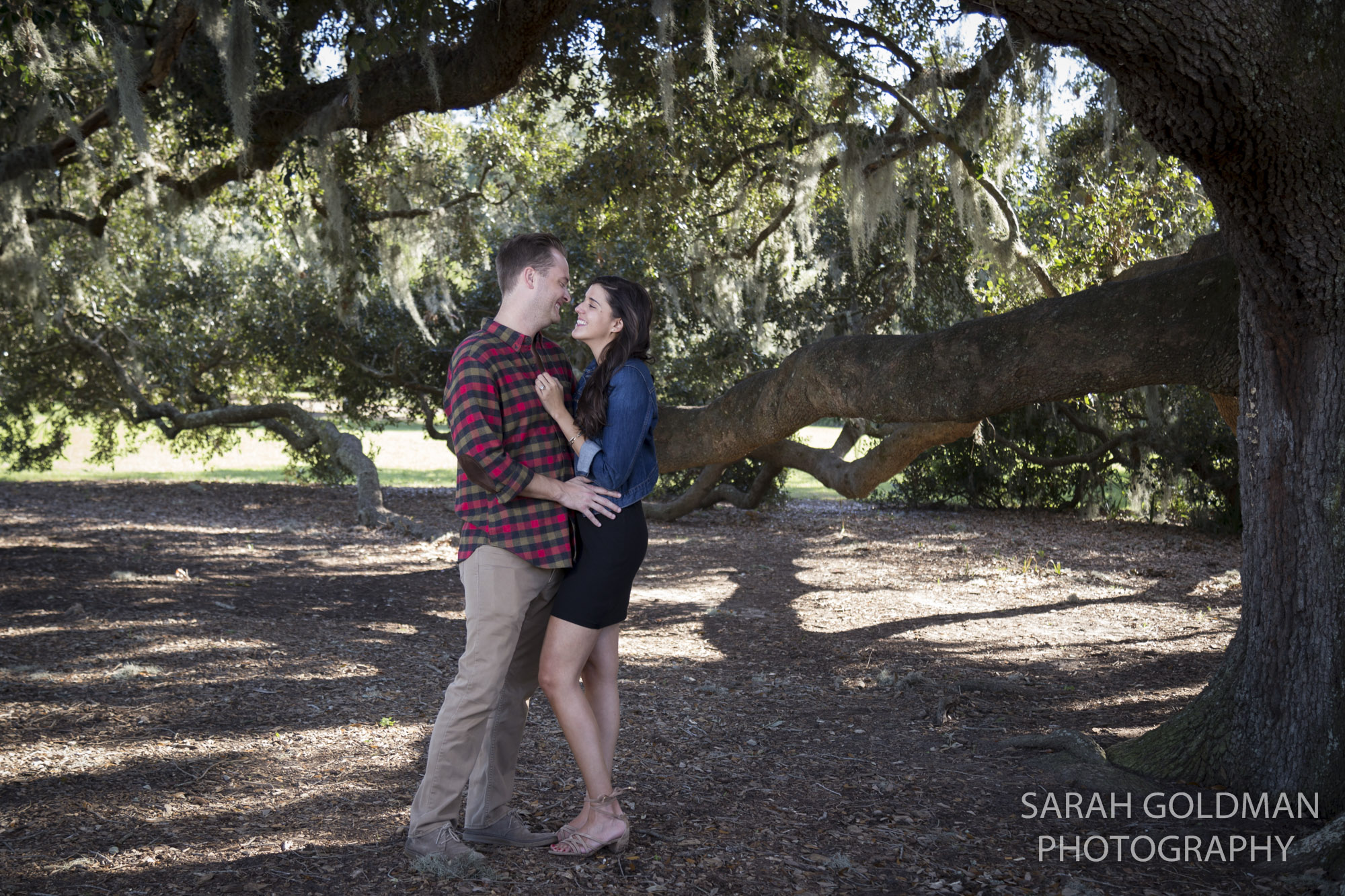 engagement photos under a live oak in charleston sc