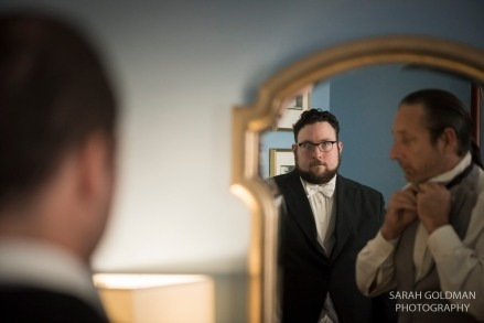 groom getting ready at francis marion hotel